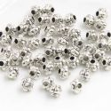 Metal spacer beads, Tibetan silver [an alloy of nickel and copper], Silver colour , Black , 5mm x 5mm x 4mm, 5 Beads, [ZYS0050]